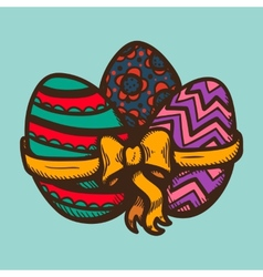 Three eggs with ribbon and bow vector image