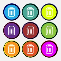 trash icon sign Nine multi colored round buttons vector image vector image