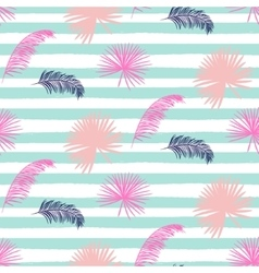 Pink banana palm leaves striped blue seamless vector