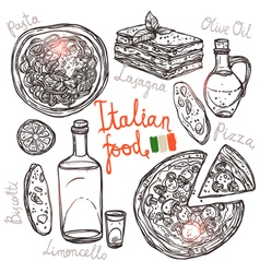 Italian hand drawn food collection vector