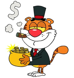 Tiger Carrying A Pot Of Gold And Smoking A Cigar vector image