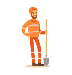 Road worker in orange uniform with shovel part vector