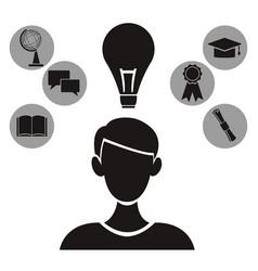 White background with monochrome profile person vector