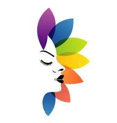 Face with colorful leaves- logo for aromatherapy vector image