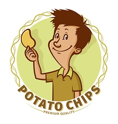 Boy with potato chips vector