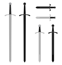Medieval sword set vector