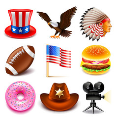 Usa icons set vector