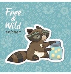 Stickers with a cute raccoon vector image
