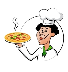 Italian chef with pizza vector image