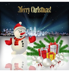 Abstract Christmas with silhouette of city snowman vector image