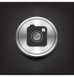 Camera simple icon on silver button vector image