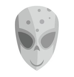 Cartoon flat alien head isolated on white vector