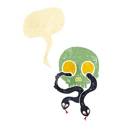 Cartoon skull with snakes with speech bubble vector