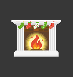 Christmas socks hanging in front of fire place vector