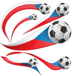 Czech Republic flag set with soccer ball vector image vector image