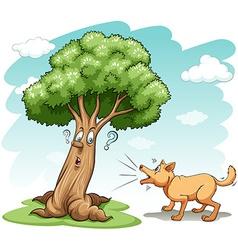 Dog barking the tree vector