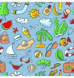 doodle summer seamless vector image