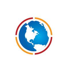 Earth globe round logo vector