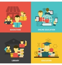 Education reading flat icons square banner vector image vector image