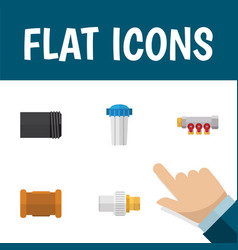 flat icon pipeline set of water filter tube pipe vector image vector image