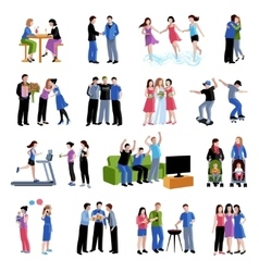 Friends buddies activities flat icons set vector