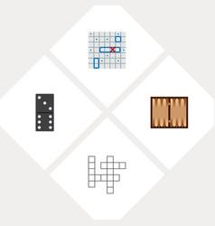 Icon flat entertainment set of backgammon battle vector