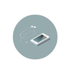 isometric white smartphone with headphones vector image vector image