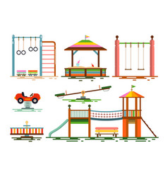 kids playground flat design icons vector image vector image