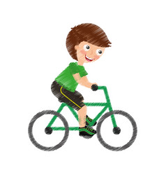 Little kid riding bicycle vector
