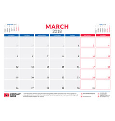 march 2018 calendar planner design template week vector image vector image