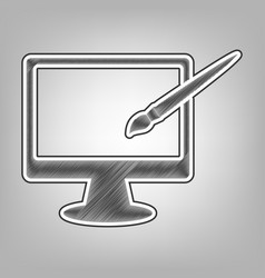 monitor with brush sign pencil sketch vector image vector image