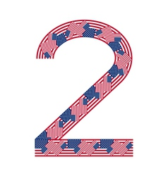 Number 2 made of USA flags on white background vector image