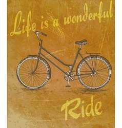 Old vintage poster with bike for retro design vector