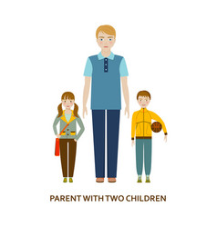 Parent with two children cartoon vector
