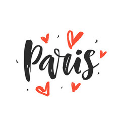 Paris modern city hand written brush lettering vector