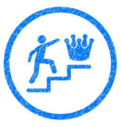 Person steps to crown rounded grainy icon vector