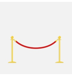 Red rope barrier golden stanchions turnstile vector image vector image