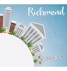 Richmond virginia skyline with gray buildings vector