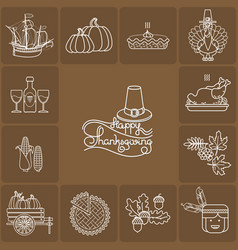 set of cartoon icons for thanksgiving da vector image vector image