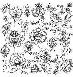 Set of hand-drawn floral elements vector image vector image