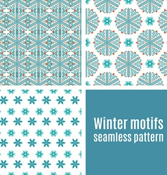 Set seamless pattern of snowflakes vector image
