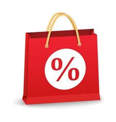 Shopping Bag with Percent Sign vector image vector image