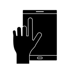 silhouette smartphone device mobile screen vector image vector image