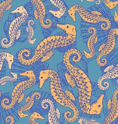 Sketch seahorse and shell in vintage style vector image vector image