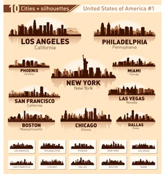 Skyline city set 10 cities of USA - 1 vector image vector image