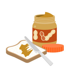 Slice of toast bread with peanut butter and knife vector