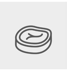 Sliced pork meat thin line icon vector