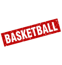 Square grunge red basketball stamp vector