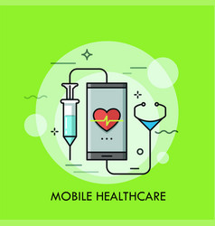 Syringe and stethoscope connected to smartphone vector