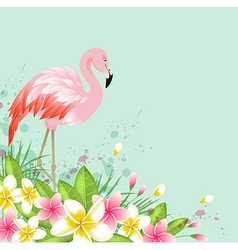 Tropical background with flowers and pink flamingo vector image vector image